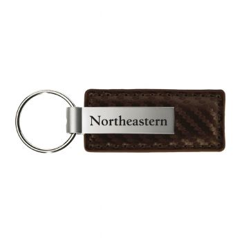 Northeastern University-Carbon Fiber Leather and Metal Key Tag-Taupe
