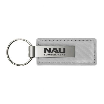 Northern Arizona University-Carbon Fiber Leather and Metal Key Tag-White