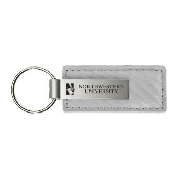Northwestern University-Carbon Fiber Leather and Metal Key Tag-White