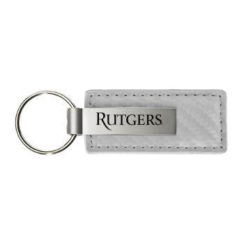 Rutgers University-Carbon Fiber Leather and Metal Key Tag-White