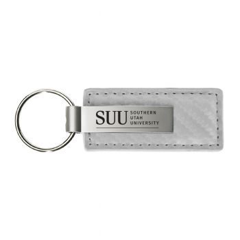 Saint Joseph's university-Carbon Fiber Leather and Metal Key Tag-White