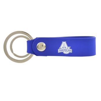 American University-Silicone Snap Key Chain-Blue