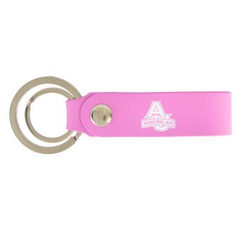 American University-Silicone Snap Key Chain-Pink