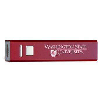 Washington State University - Portable Cell Phone 2600 mAh Power Bank Charger - Burgundy