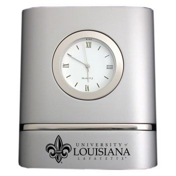 University of Louisiana at Lafayette- Two-Toned Desk Clock -Silver