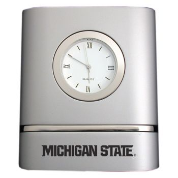 Michigan State University- Two-Toned Desk Clock -Silver