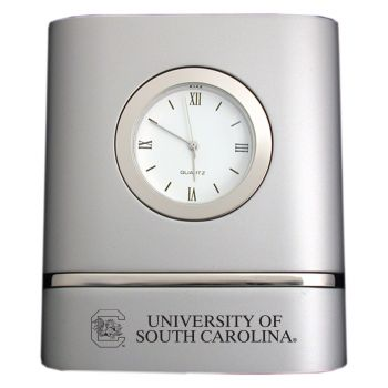 University of South Carolina- Two-Toned Desk Clock -Silver