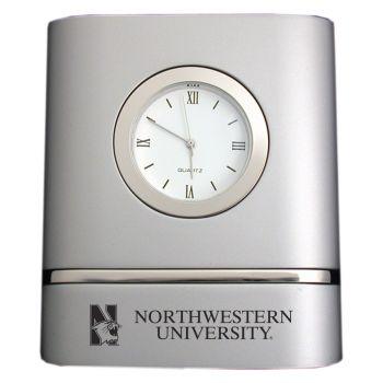 Northwestern University- Two-Toned Desk Clock -Silver