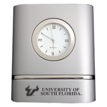 University of South Florida- Two-Toned Desk Clock -Silver