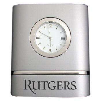 Rutgers University- Two-Toned Desk Clock -Silver