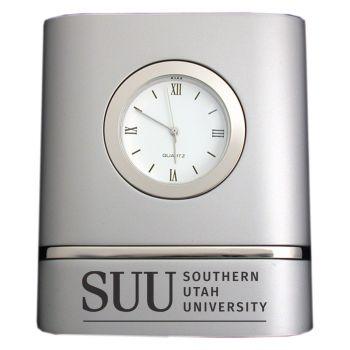 Southern Utah University- Two-Toned Desk Clock -Silver