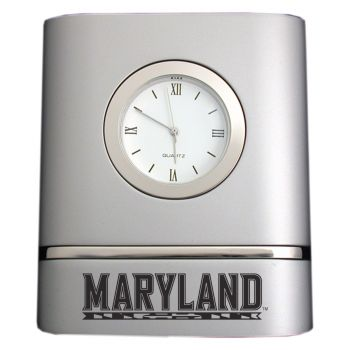University of Maryland, College Park- Two-Toned Desk Clock -Silver