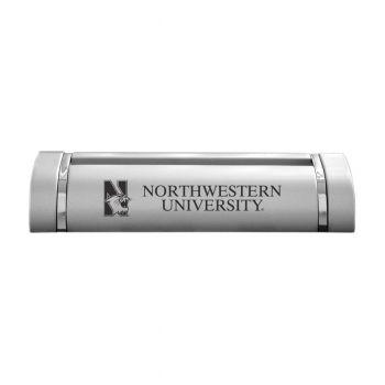 Northwestern University-Desk Business Card Holder -Silver