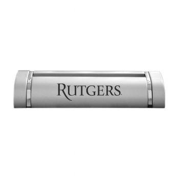 Rutgers University-Desk Business Card Holder -Silver