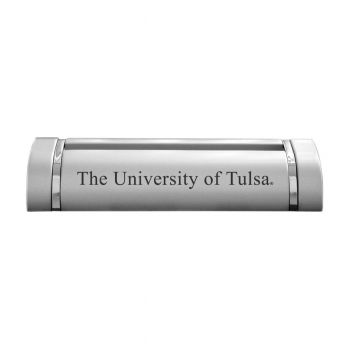 University of Tulsa-Desk Business Card Holder -Silver