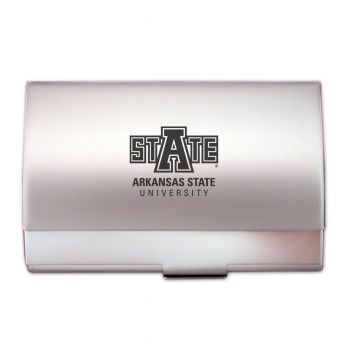 Arkansas State University - Two-Tone Business Card Holder - Silver