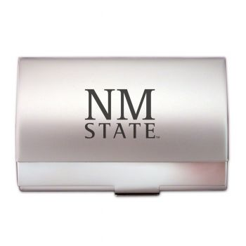 New Mexico State University - Two-Tone Business Card Holder - Silver