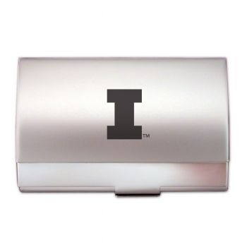 University of Illinois at Urbana–Champaign - Two-Tone Business Card Holder - Silver