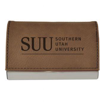 Velour Business Cardholder-Southern Utah University-Brown
