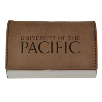 Velour Business Cardholder-University of The Pacific-Brown