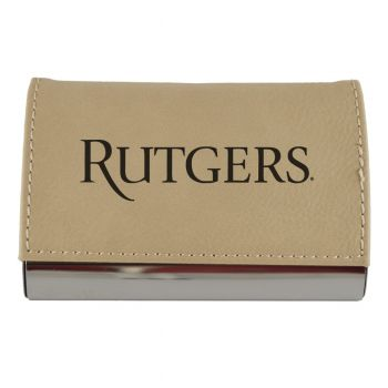 Velour Business Cardholder-Rutgers University-Tan