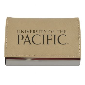 Velour Business Cardholder-University of The Pacific-Tan