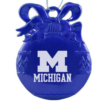 University of Michigan - Pewter Christmas Tree Ornament - Blue