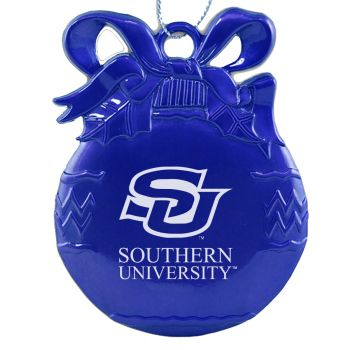 Southern University and A&M College - Pewter Christmas Tree Ornament - Blue