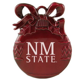 New Mexico State University - Pewter Christmas Tree Ornament - Burgundy