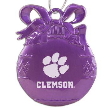 Clemson University - Pewter Christmas Tree Ornament - Purple