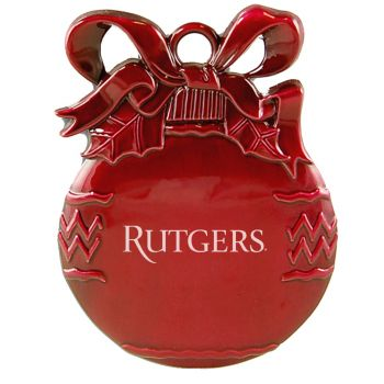 Rutgers University - Pewter Christmas Tree Ornament - Red