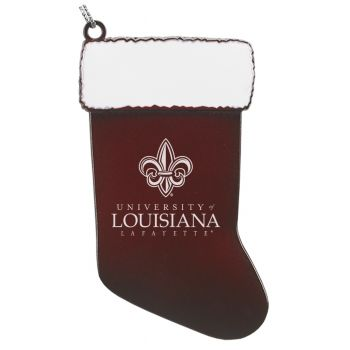 University of Louisiana at Lafayette - Christmas Holiday Stocking Ornament - Burgundy