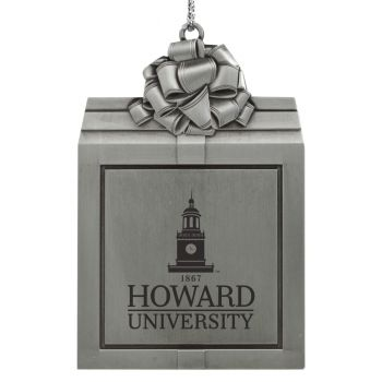 Howard University -Pewter Christmas Holiday Present Ornament-Silver