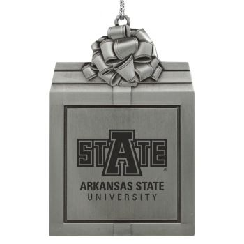 Arkansas State University -Pewter Christmas Holiday Present Ornament-Silver