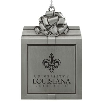 University of Louisiana at Lafayette-Pewter Christmas Holiday Present Ornament-Silver