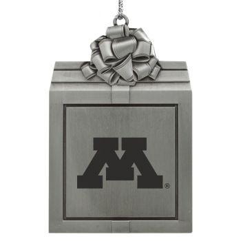 University of Minnesota -Pewter Christmas Holiday Present Ornament-Silver