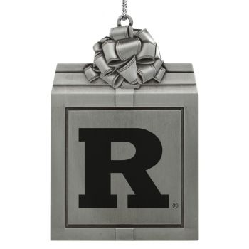 Rutgers University -Pewter Christmas Holiday Present Ornament-Silver