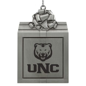 University of Northern Colorado -Pewter Christmas Holiday Present Ornament-Silver