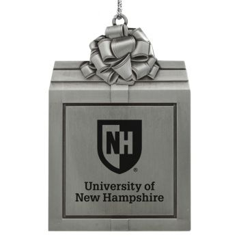 University of New Hampshire -Pewter Christmas Holiday Present Ornament-Silver