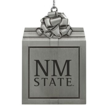 New Mexico State-Pewter Christmas Holiday Present Ornament-Silver