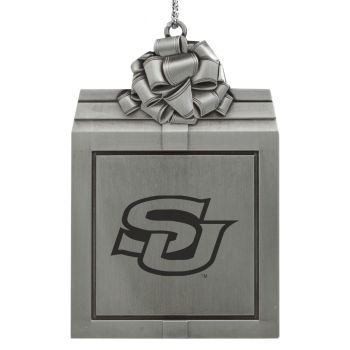 Southern University -Pewter Christmas Holiday Present Ornament-Silver