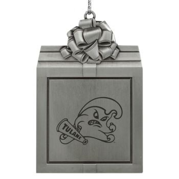 Tulane University -Pewter Christmas Holiday Present Ornament-Silver