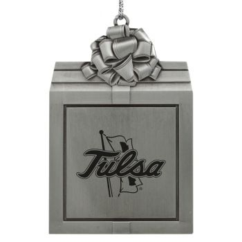 University of Tulsa-Pewter Christmas Holiday Present Ornament-Silver