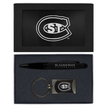 St. Cloud State University -Executive Twist Action Ballpoint Pen Stylus and Gunmetal Key Tag Gift Set-Black