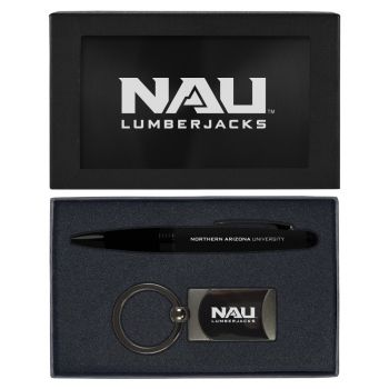 Northern Arizona University -Executive Twist Action Ballpoint Pen Stylus and Gunmetal Key Tag Gift Set-Black