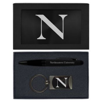 Northeastern University -Executive Twist Action Ballpoint Pen Stylus and Gunmetal Key Tag Gift Set-Black