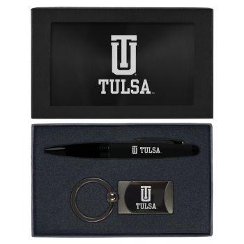University of Tulsa-Executive Twist Action Ballpoint Pen Stylus and Gunmetal Key Tag Gift Set-Black