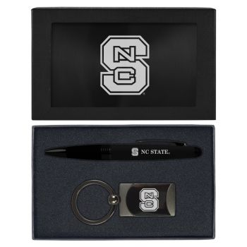 North Carolina State University -Executive Twist Action Ballpoint Pen Stylus and Gunmetal Key Tag Gift Set-Black