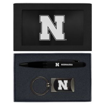 University of Nebraska-Executive Twist Action Ballpoint Pen Stylus and Gunmetal Key Tag Gift Set-Black