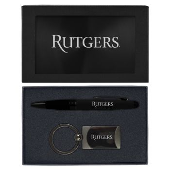 Rutgers University -Executive Twist Action Ballpoint Pen Stylus and Gunmetal Key Tag Gift Set-Black